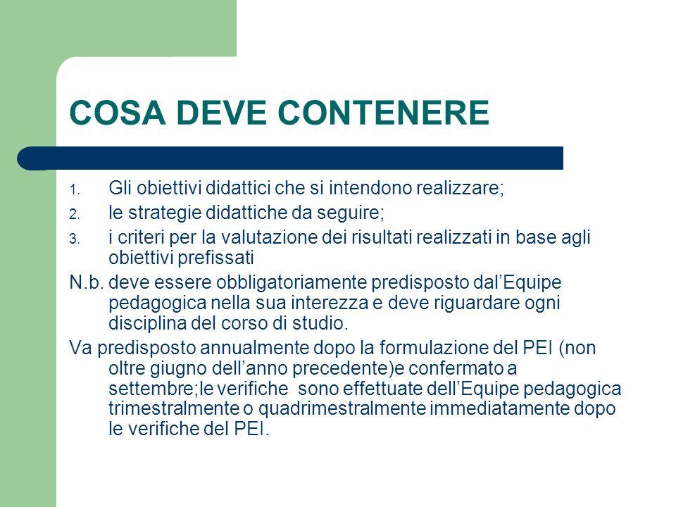 COSA DEVE CONTENERE 1. Gli obiettivi didattici che si intendono realizzare; 2. le strategie didattiche da seguire; 3. i criteri per la valutazione dei