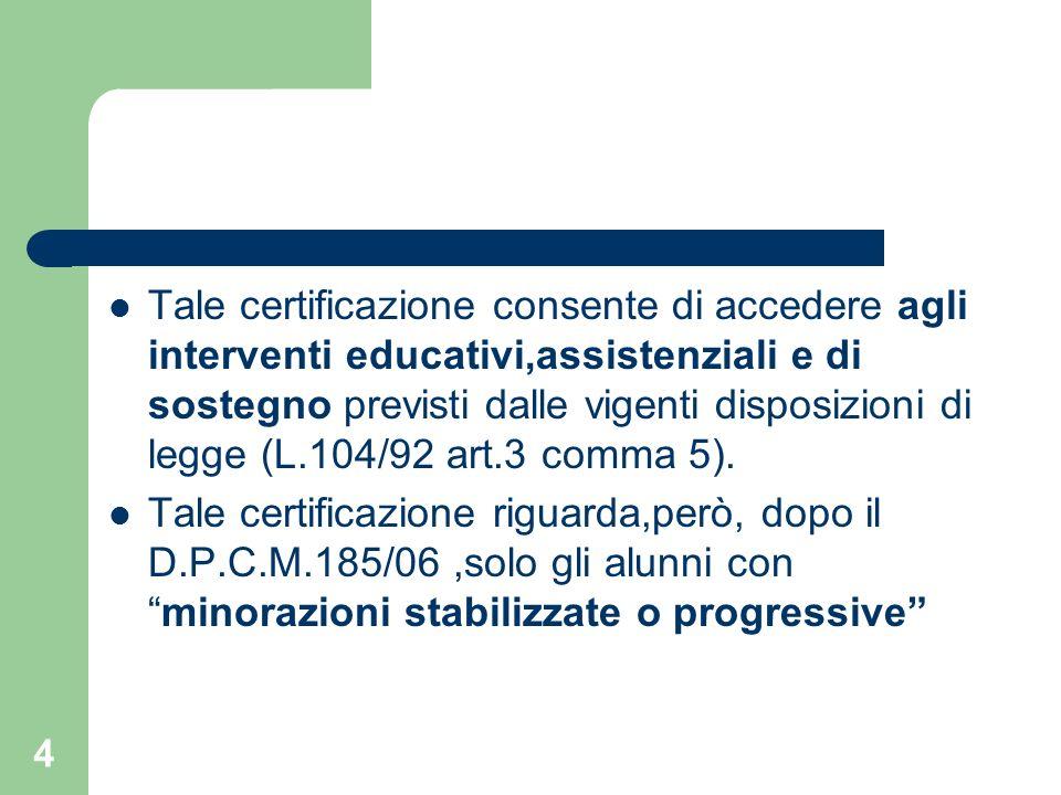 4 Tale certificazione consente di accedere agli interventi educativi,assistenziali e di sostegno previsti dalle vigenti disposizioni di legge (L.104/9