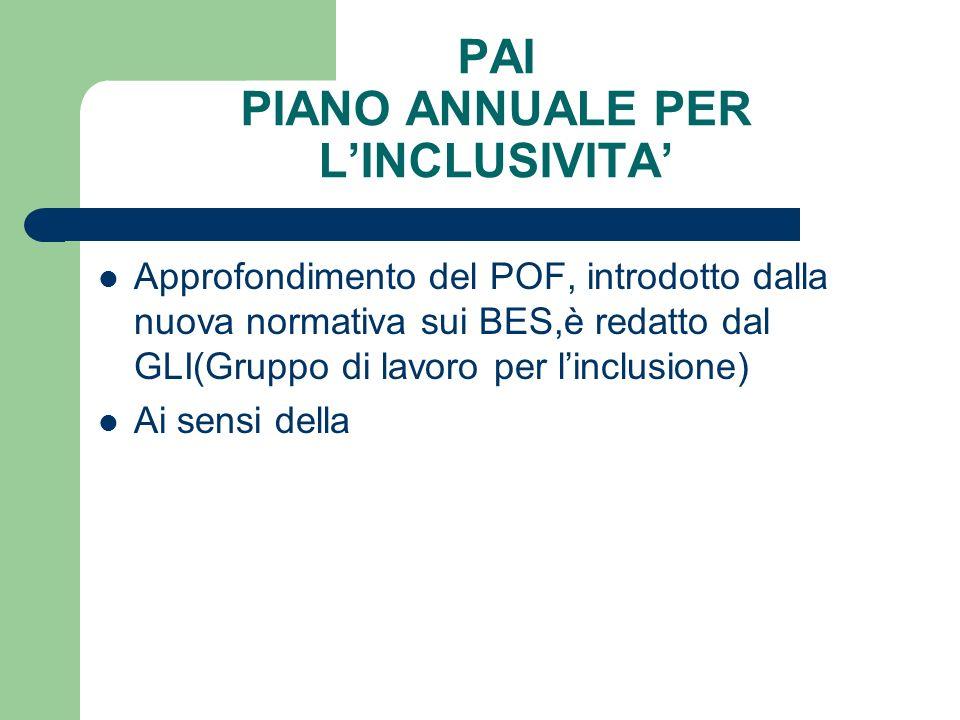 PAI PIANO ANNUALE PER L'INCLUSIVITA' Approfondimento del POF, introdotto dalla nuova normativa sui BES,è redatto dal GLI(Gruppo di lavoro per l'inclus