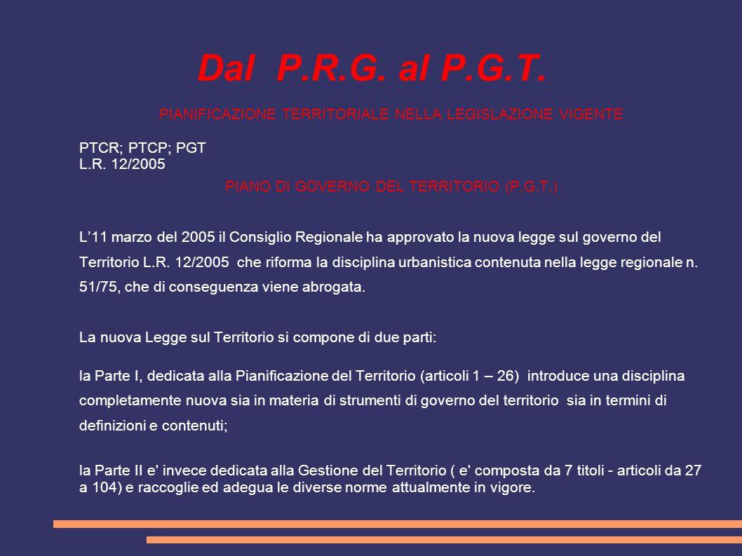 Dal P.R.G. al P.G.T. PIANIFICAZIONE TERRITORIALE NELLA LEGISLAZIONE VIGENTE PTCR; PTCP; PGT L.R. 12/2005 PIANO DI GOVERNO DEL TERRITORIO (P.G.T.) L'11
