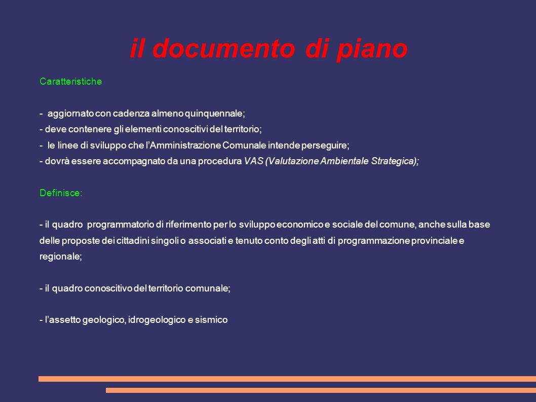 il documento di piano Caratteristiche - aggiornato con cadenza almeno quinquennale; - deve contenere gli elementi conoscitivi del territorio; - le lin
