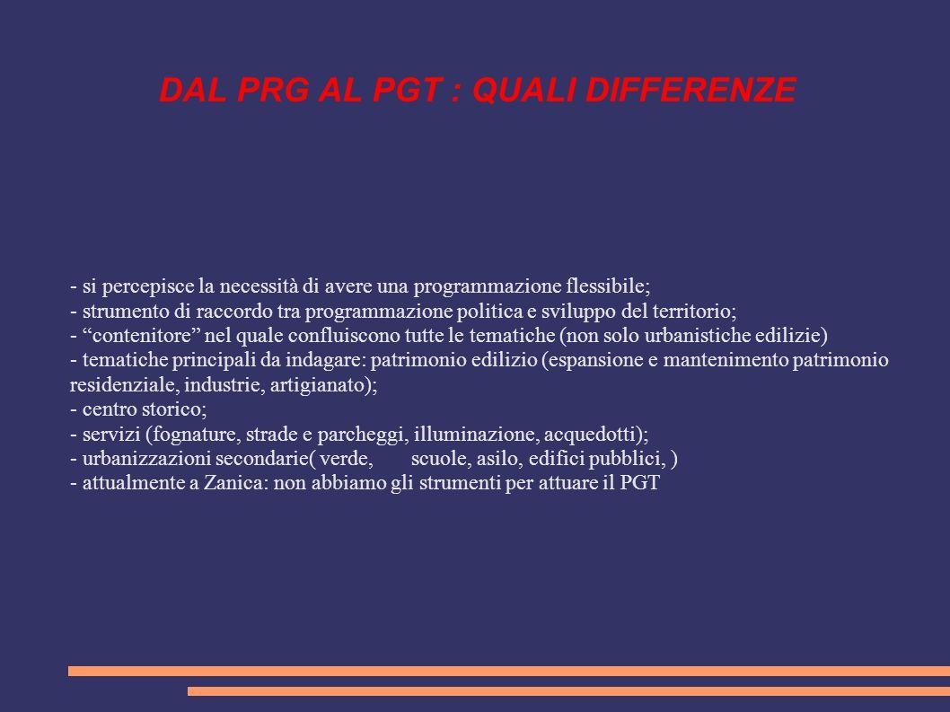 DAL PRG AL PGT : QUALI DIFFERENZE - si percepisce la necessità di avere una programmazione flessibile; - strumento di raccordo tra programmazione poli