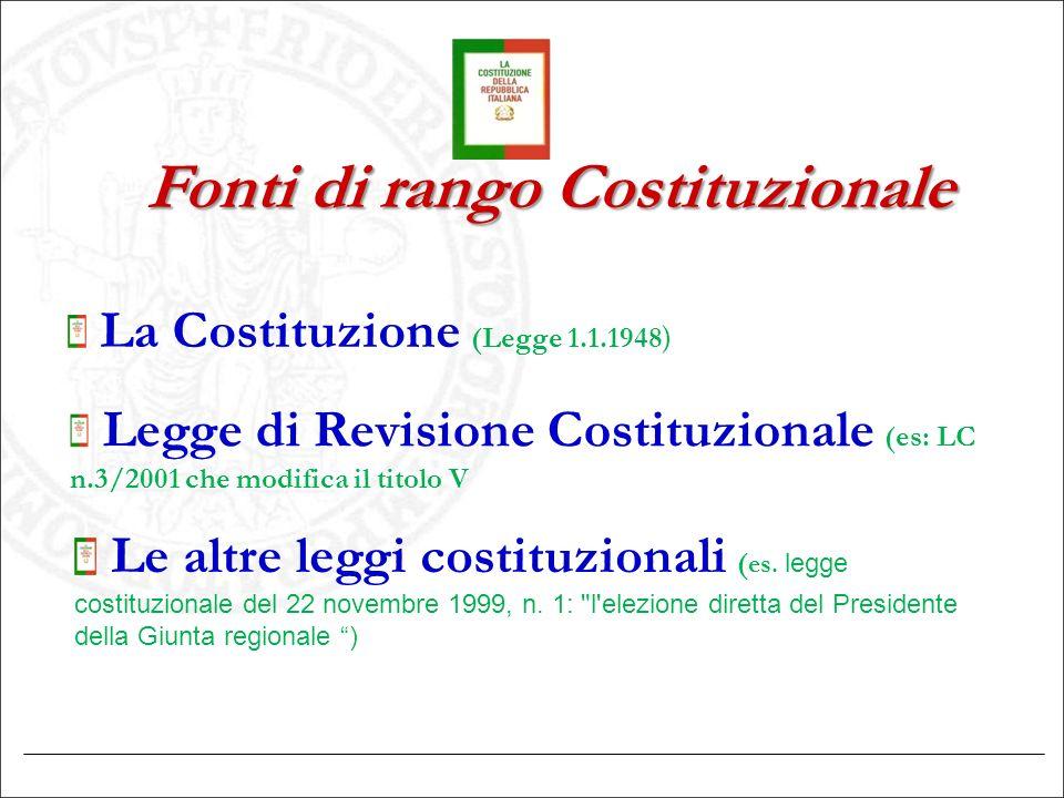 Fonti di rango Costituzionale La Costituzione (Legge 1.1.1948 ) Legge di Revisione Costituzionale (es: LC n.3/2001 che modifica il titolo V Le altre l