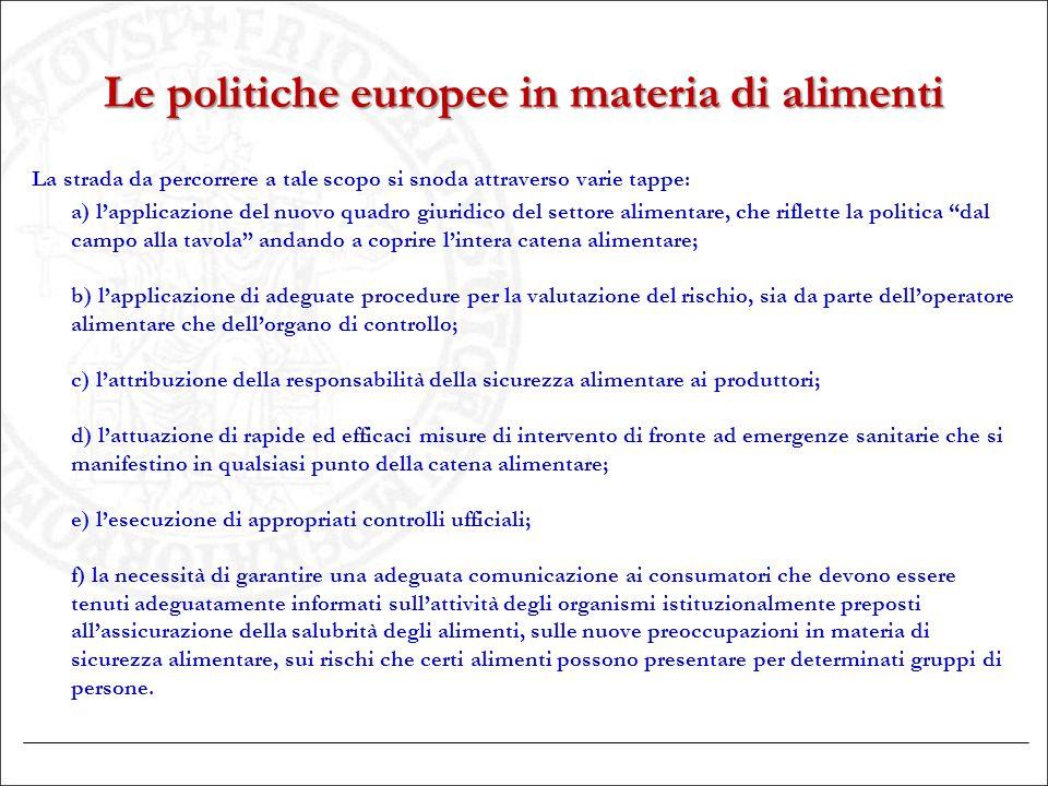 Le politiche europee in materia di alimenti La strada da percorrere a tale scopo si snoda attraverso varie tappe: a) l'applicazione del nuovo quadro g