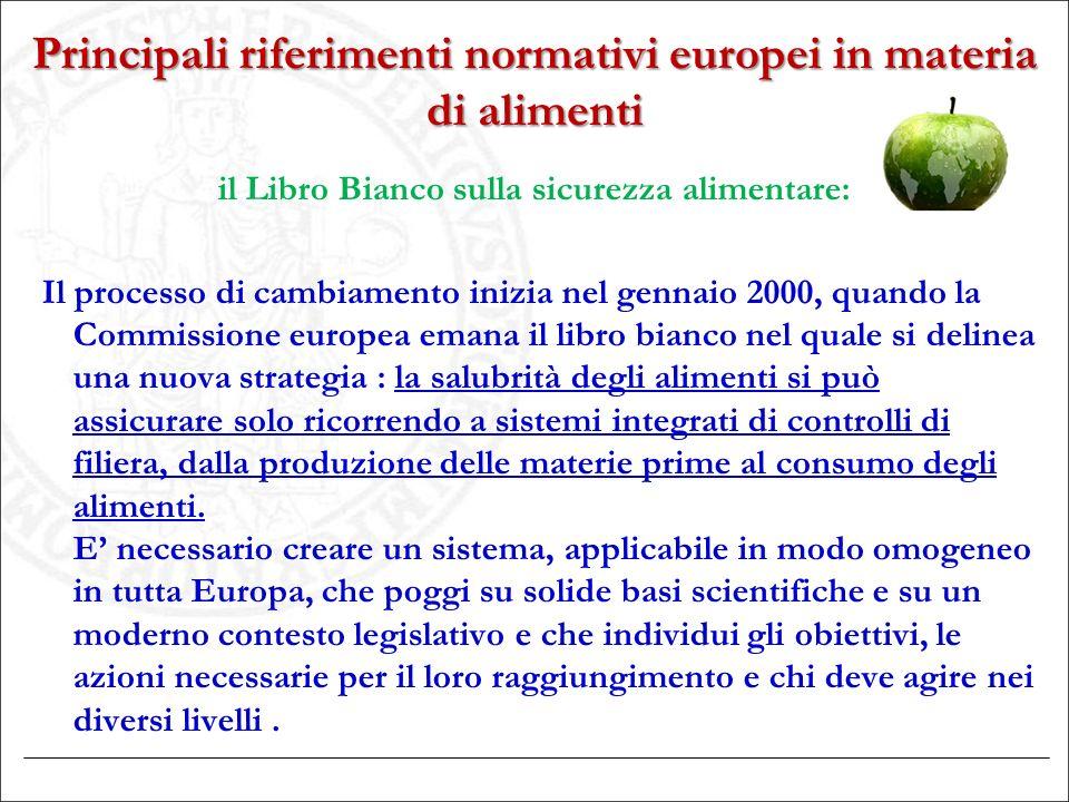 Principali riferimenti normativi europei in materia di alimenti il Libro Bianco sulla sicurezza alimentare: Il processo di cambiamento inizia nel genn