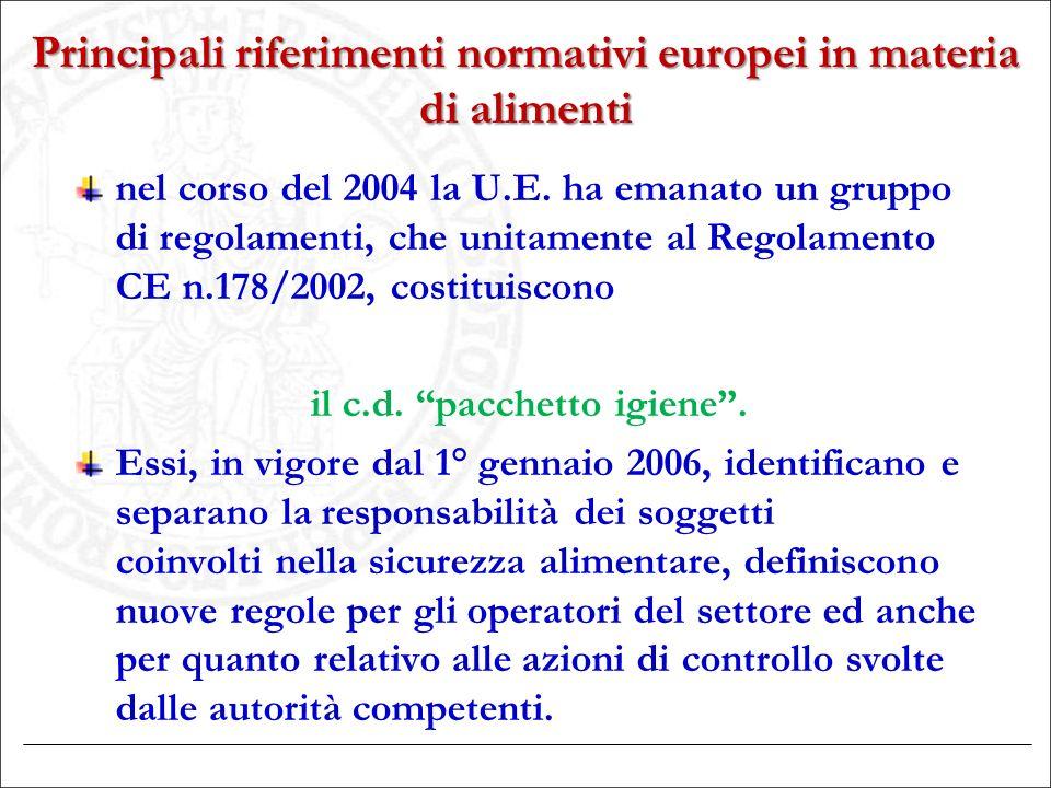 Principali riferimenti normativi europei in materia di alimenti nel corso del 2004 la U.E. ha emanato un gruppo di regolamenti, che unitamente al Rego