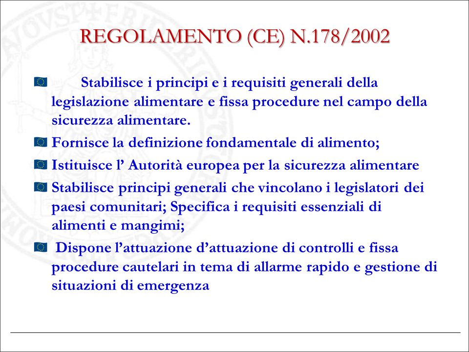 REGOLAMENTO (CE) N.178/2002 Stabilisce i principi e i requisiti generali della legislazione alimentare e fissa procedure nel campo della sicurezza ali