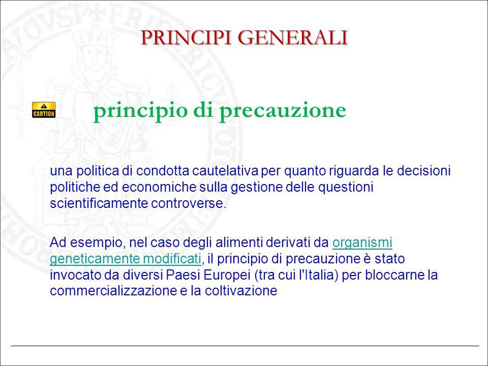 PRINCIPI GENERALI principio di precauzione una politica di condotta cautelativa per quanto riguarda le decisioni politiche ed economiche sulla gestion