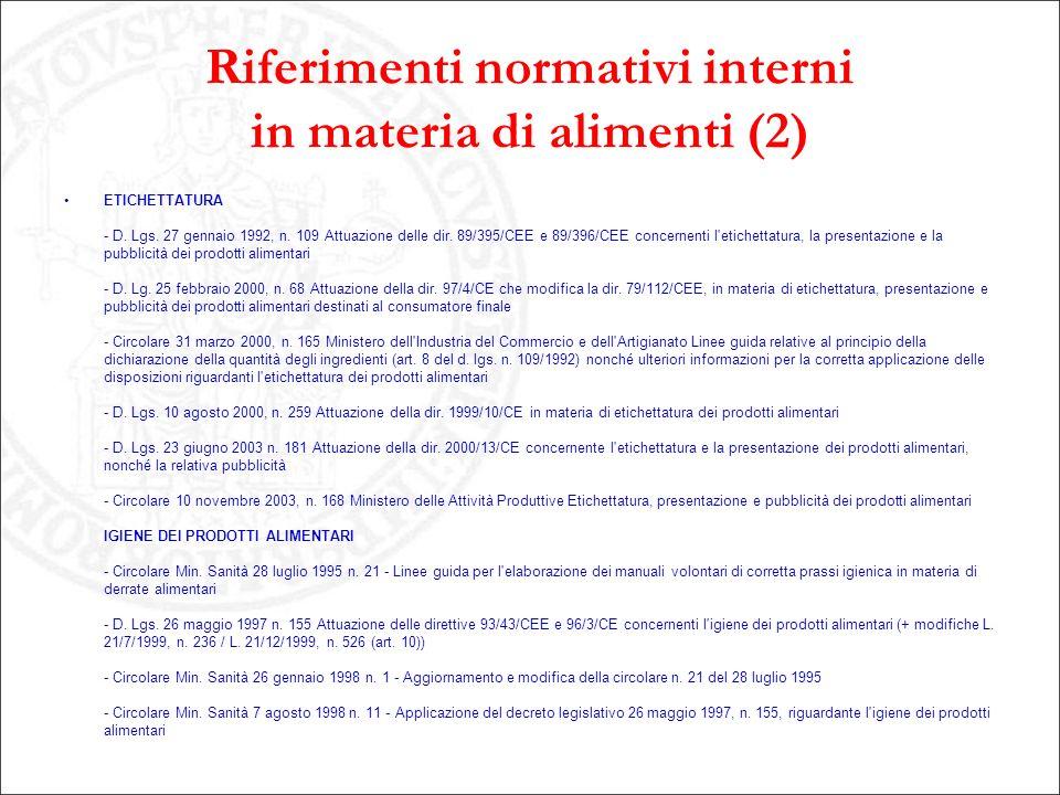 Riferimenti normativi interni in materia di alimenti (2) ETICHETTATURA - D. Lgs. 27 gennaio 1992, n. 109 Attuazione delle dir. 89/395/CEE e 89/396/CEE