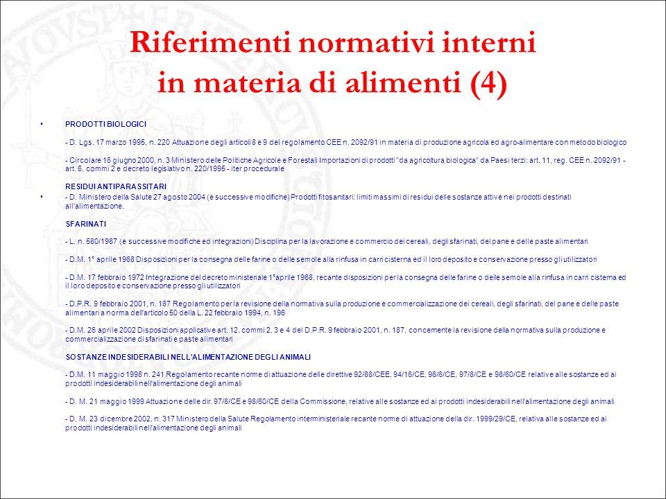 Riferimenti normativi interni in materia di alimenti (4) PRODOTTI BIOLOGICI - D. Lgs. 17 marzo 1995, n. 220 Attuazione degli articoli 8 e 9 del regola