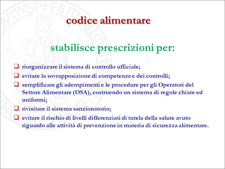 codice alimentare stabilisce prescrizioni per:  riorganizzare il sistema di controllo ufficiale;  evitare la sovrapposizione di competenze e dei con