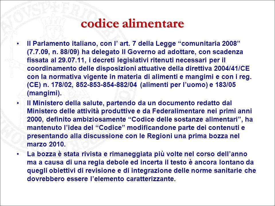 """codice alimentare Il Parlamento italiano, con l' art. 7 della Legge """"comunitaria 2008"""" (7.7.09, n. 88/09) ha delegato Il Governo ad adottare, con scad"""