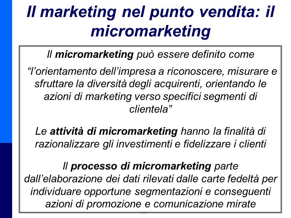 Management della Distribuzione - Prof. Giuseppe Calabrese 10 Il marketing nel punto vendita: il micromarketing Il micromarketing può essere definito c