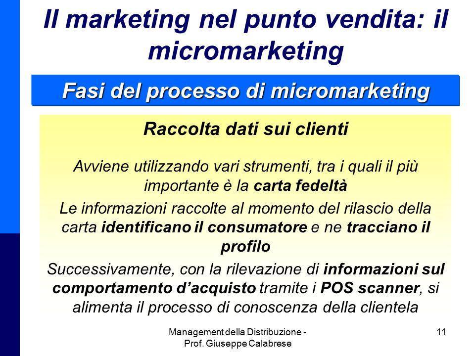 Management della Distribuzione - Prof. Giuseppe Calabrese 11 Il marketing nel punto vendita: il micromarketing Raccolta dati sui clienti Avviene utili