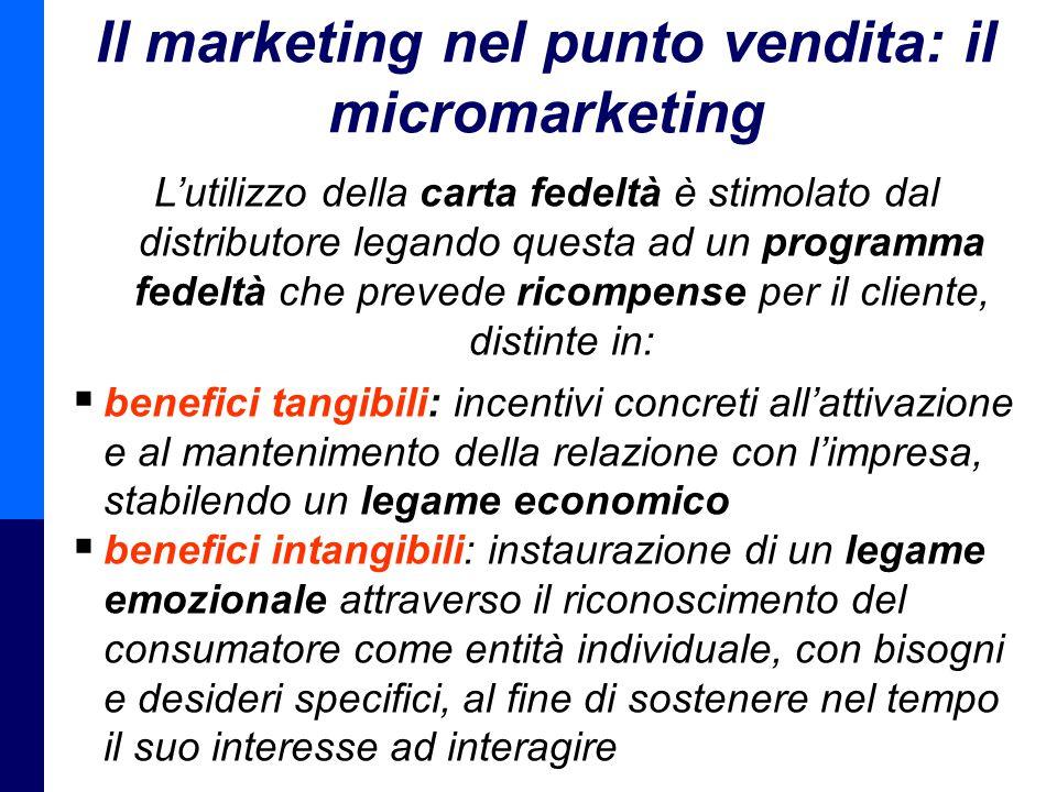 Management della Distribuzione - Prof. Giuseppe Calabrese 13 Il marketing nel punto vendita: il micromarketing L'utilizzo della carta fedeltà è stimol