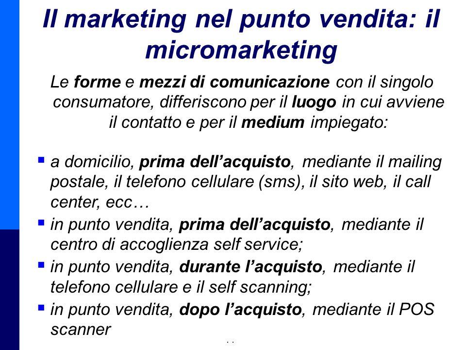 Management della Distribuzione - Prof. Giuseppe Calabrese 14 Il marketing nel punto vendita: il micromarketing Le forme e mezzi di comunicazione con i