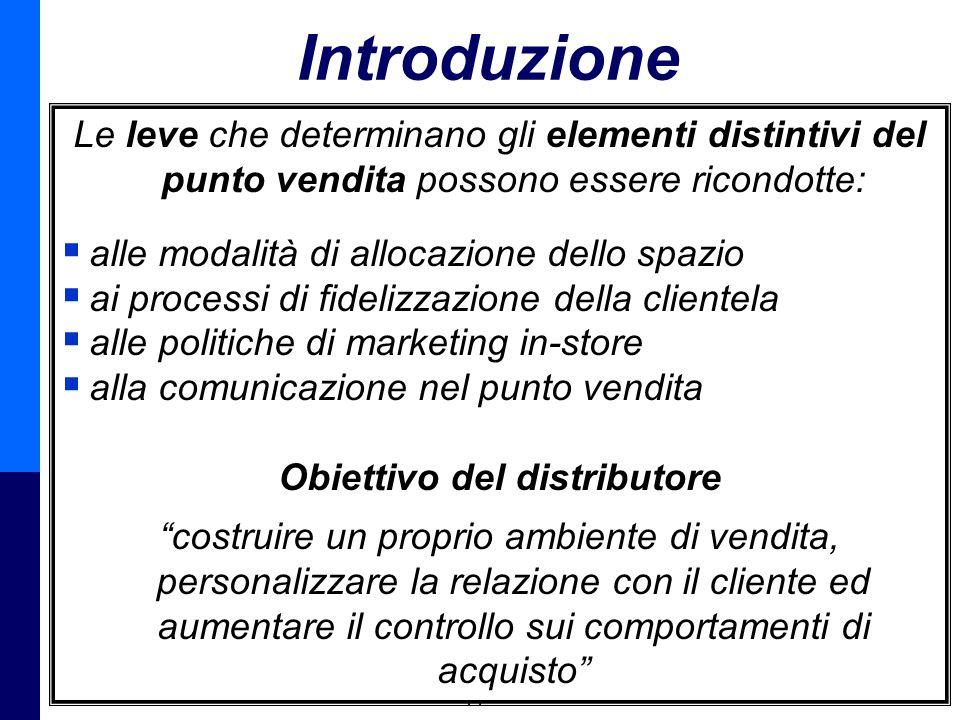 Management della Distribuzione - Prof. Giuseppe Calabrese 2 Introduzione Le leve che determinano gli elementi distintivi del punto vendita possono ess