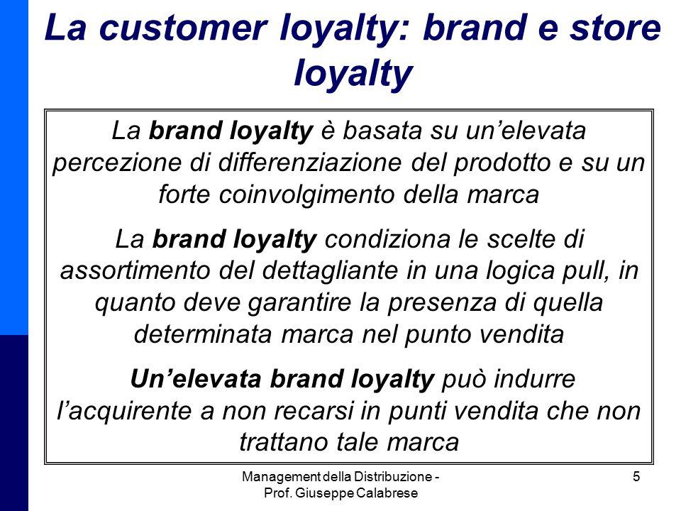 Management della Distribuzione - Prof. Giuseppe Calabrese 5 La customer loyalty: brand e store loyalty La brand loyalty è basata su un'elevata percezi