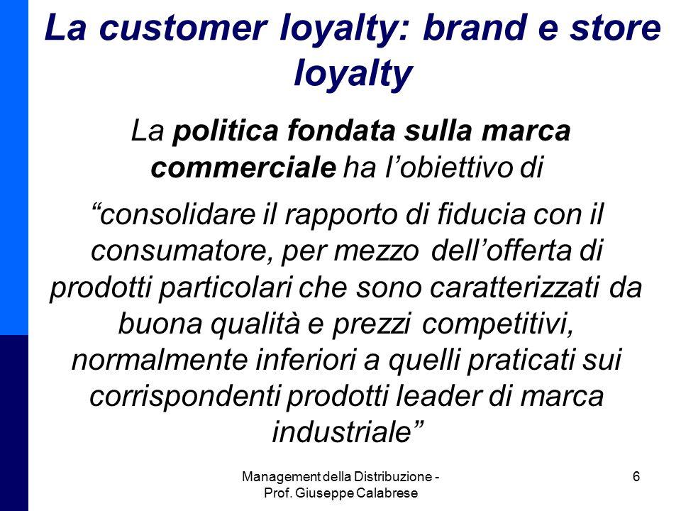 Management della Distribuzione - Prof. Giuseppe Calabrese 6 La customer loyalty: brand e store loyalty La politica fondata sulla marca commerciale ha