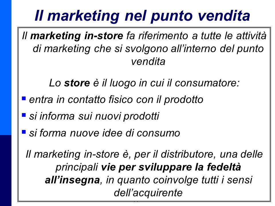 Management della Distribuzione - Prof. Giuseppe Calabrese 9 Il marketing nel punto vendita Il marketing in-store fa riferimento a tutte le attività di