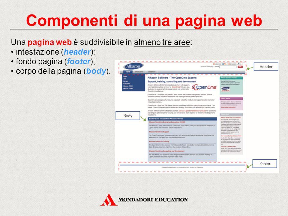 Componenti di una pagina web Una pagina web è suddivisibile in almeno tre aree: intestazione (header); fondo pagina (footer); corpo della pagina (body
