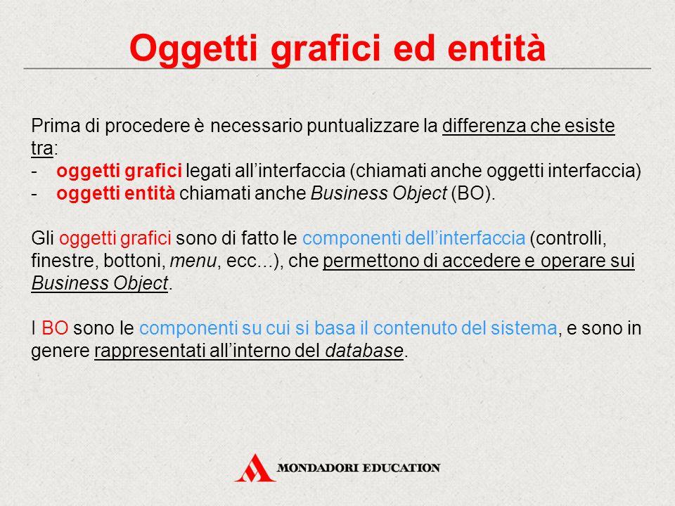 Oggetti grafici ed entità Prima di procedere è necessario puntualizzare la differenza che esiste tra: -oggetti grafici legati all'interfaccia (chiamat