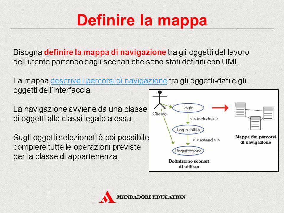 Definire la mappa Bisogna definire la mappa di navigazione tra gli oggetti del lavoro dell'utente partendo dagli scenari che sono stati definiti con U
