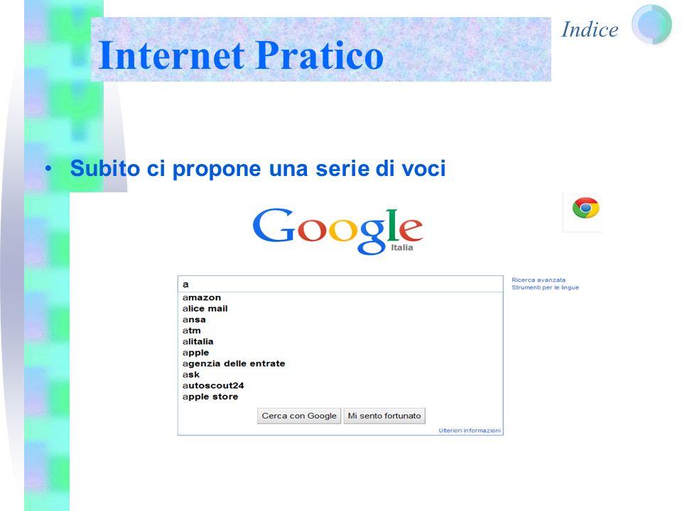 Indice Internet Pratico Subito ci propone una serie di voci