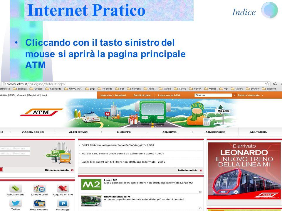 Indice Cliccando con il tasto sinistro del mouse si aprirà la pagina principale ATM Internet Pratico