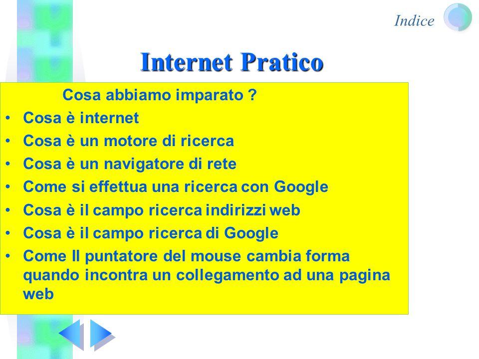 Indice Internet Pratico Cosa abbiamo imparato ? Cosa è internet Cosa è un motore di ricerca Cosa è un navigatore di rete Come si effettua una ricerca