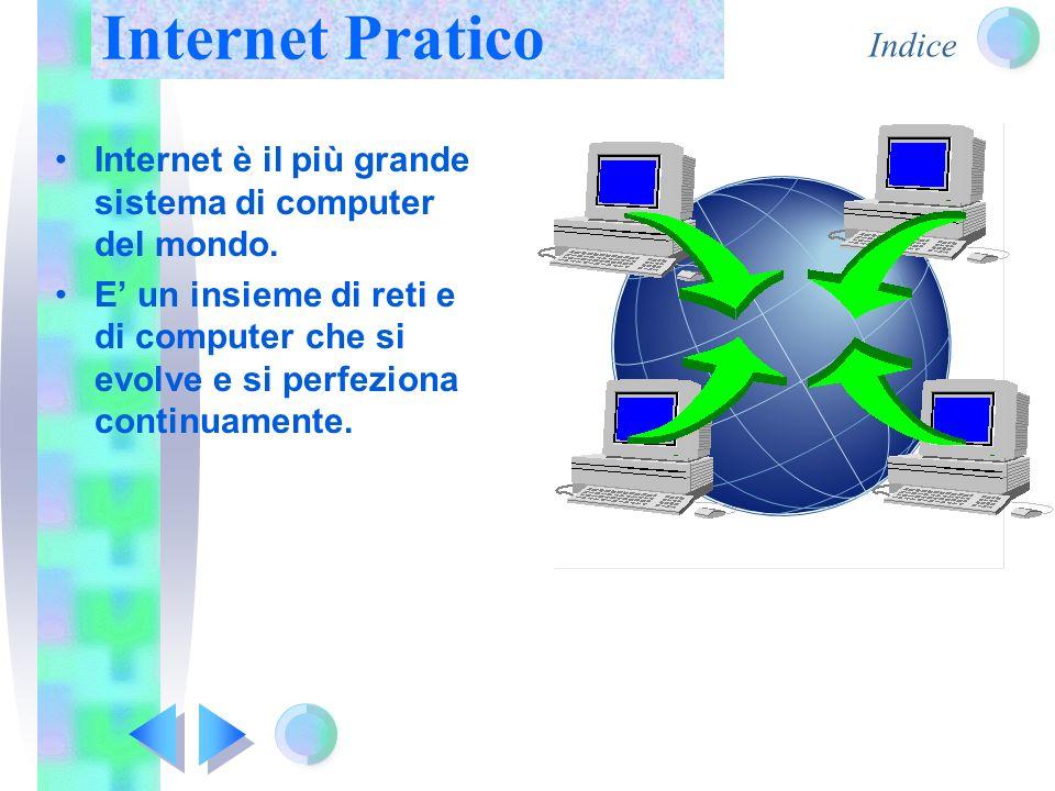 Indice Internet è il più grande sistema di computer del mondo. E' un insieme di reti e di computer che si evolve e si perfeziona continuamente. Intern