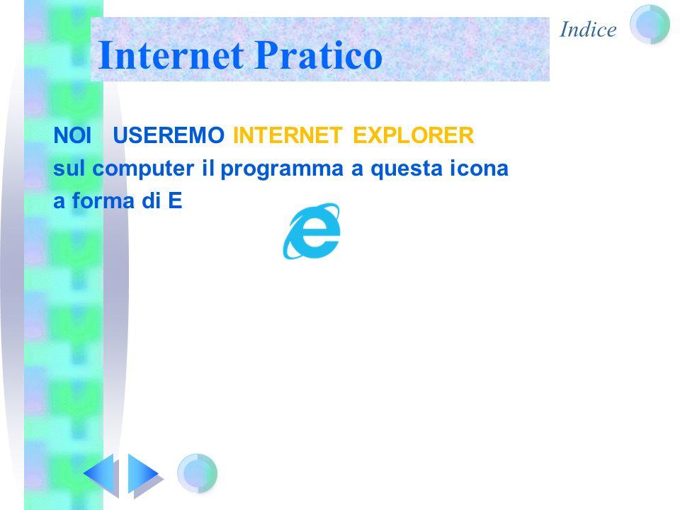 Indice Internet Pratico NOI USEREMO INTERNET EXPLORER sul computer il programma a questa icona a forma di E