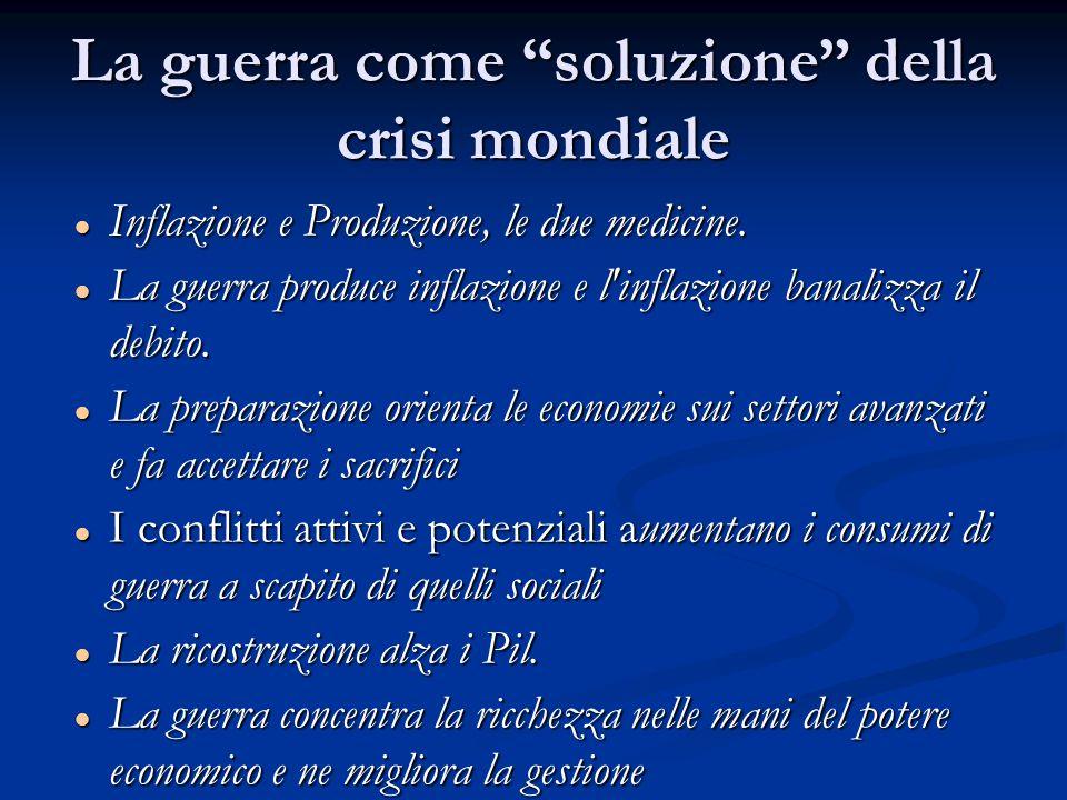 La guerra come soluzione della crisi mondiale Inflazione e Produzione, le due medicine.
