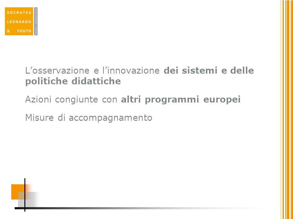 L'osservazione e l'innovazione dei sistemi e delle politiche didattiche Azioni congiunte con altri programmi europei Misure di accompagnamento