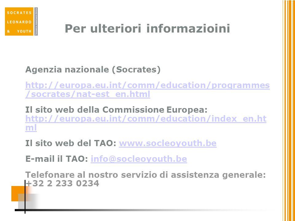Per ulteriori informazioini Agenzia nazionale (Socrates) http://europa.eu.int/comm/education/programmes /socrates/nat-est_en.html Il sito web della Commissione Europea: http://europa.eu.int/comm/education/index_en.ht ml http://europa.eu.int/comm/education/index_en.ht ml Il sito web del TAO: www.socleoyouth.bewww.socleoyouth.be E-mail il TAO: info@socleoyouth.beinfo@socleoyouth.be Telefonare al nostro servizio di assistenza generale: +32 2 233 0234