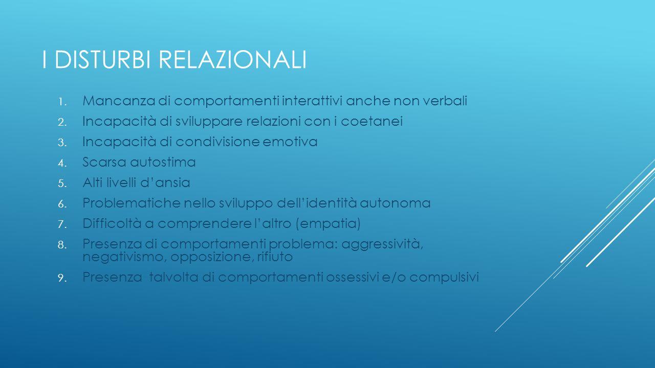 I DISTURBI RELAZIONALI 1. Mancanza di comportamenti interattivi anche non verbali 2. Incapacità di sviluppare relazioni con i coetanei 3. Incapacità d