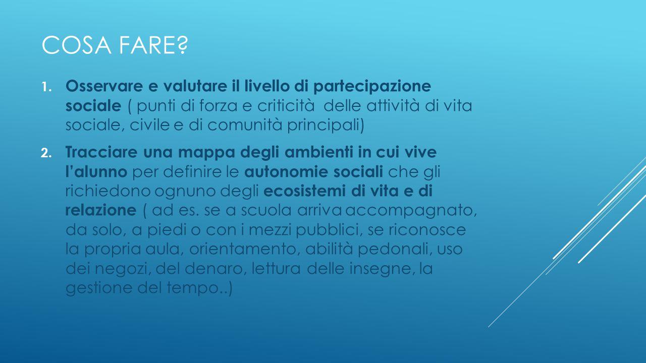 COSA FARE? 1. Osservare e valutare il livello di partecipazione sociale ( punti di forza e criticità delle attività di vita sociale, civile e di comun