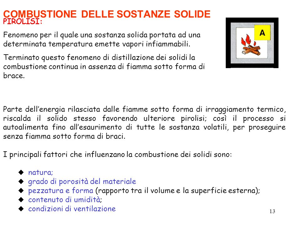13 COMBUSTIONE DELLE SOSTANZE SOLIDE PIROLISI: Fenomeno per il quale una sostanza solida portata ad una determinata temperatura emette vapori infiammabili.