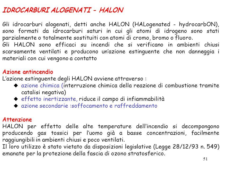 51 IDROCARBURI ALOGENATI - HALON Gli idrocarburi alogenati, detti anche HALON (HALogenated - hydrocarbON), sono formati da idrocarburi saturi in cui g