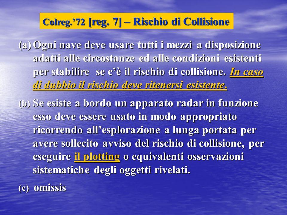 (a)Ogni nave deve usare tutti i mezzi a disposizione adatti alle circostanze ed alle condizioni esistenti per stabilire se c'è il rischio di collisione.