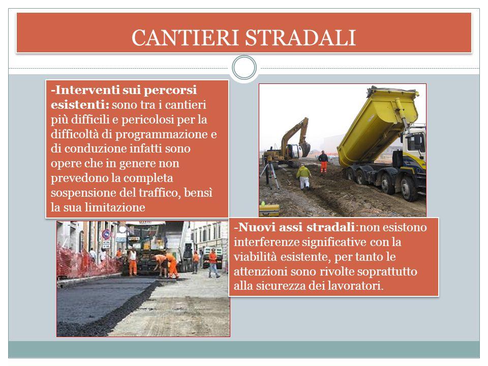 CANTIERI STRADALI Sono cantieri riguardanti appunto le strade poiché l'adeguamento alla viabilità è una necessità continua. Operano in condizioni ambi
