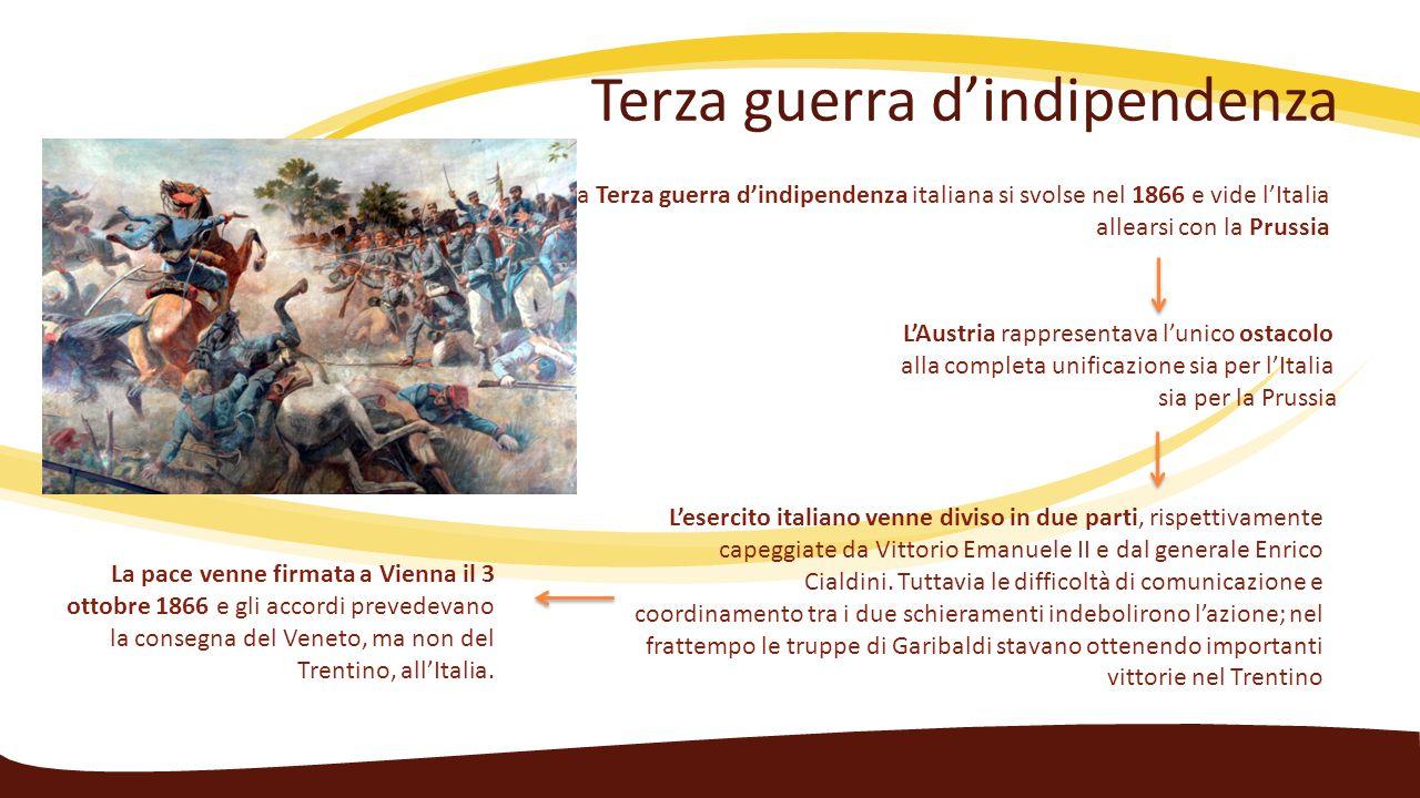 Terza guerra d'indipendenza La Terza guerra d'indipendenza italiana si svolse nel 1866 e vide l'Italia allearsi con la Prussia L'Austria rappresentava