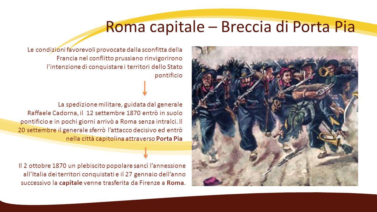Roma capitale – Breccia di Porta Pia Le condizioni favorevoli provocate dalla sconfitta della Francia nel conflitto prussiano rinvigorirono l'intenzio