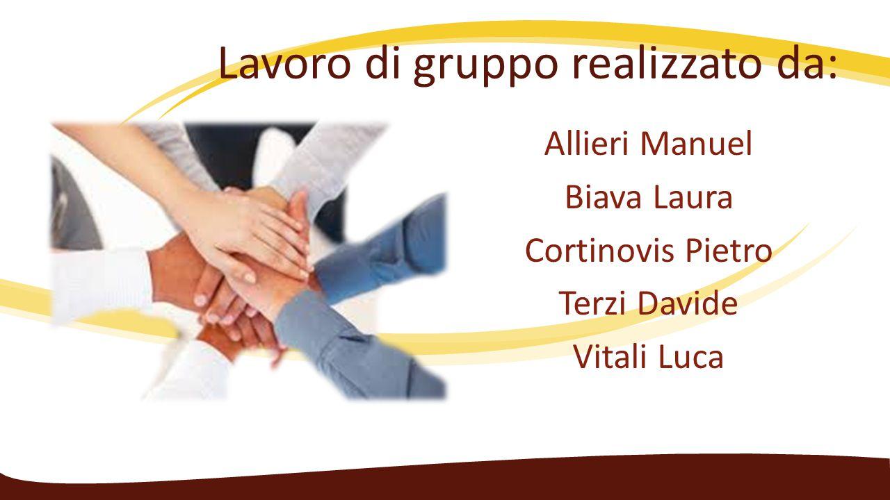 Lavoro di gruppo realizzato da: Allieri Manuel Biava Laura Cortinovis Pietro Terzi Davide Vitali Luca