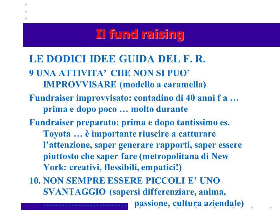 Il fund raising LE DODICI IDEE GUIDA DEL F. R. 9 UNA ATTIVITA' CHE NON SI PUO' IMPROVVISARE (modello a caramella) Fundraiser improvvisato: contadino d