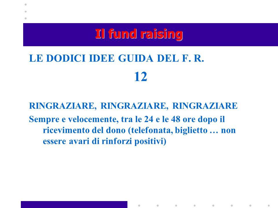Il fund raising LE DODICI IDEE GUIDA DEL F. R. 12 RINGRAZIARE, RINGRAZIARE, RINGRAZIARE Sempre e velocemente, tra le 24 e le 48 ore dopo il riceviment