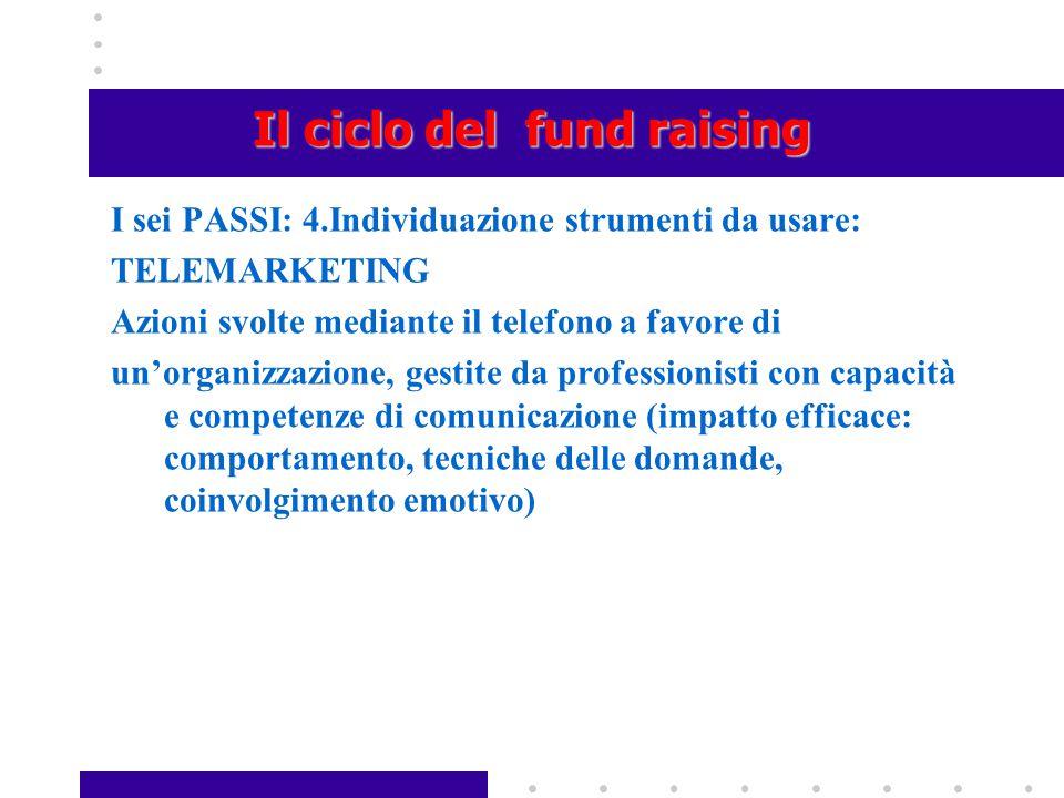 Il ciclo del fund raising I sei PASSI: 4.Individuazione strumenti da usare: TELEMARKETING Azioni svolte mediante il telefono a favore di un'organizzaz