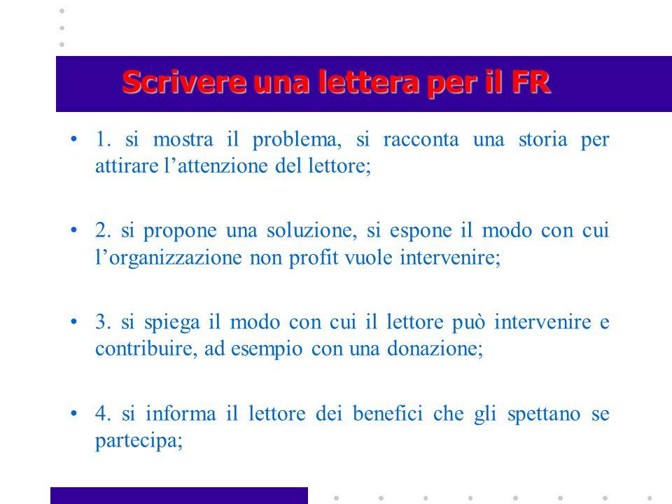 Scrivere una lettera per il FR 1. si mostra il problema, si racconta una storia per attirare l'attenzione del lettore; 2. si propone una soluzione, si