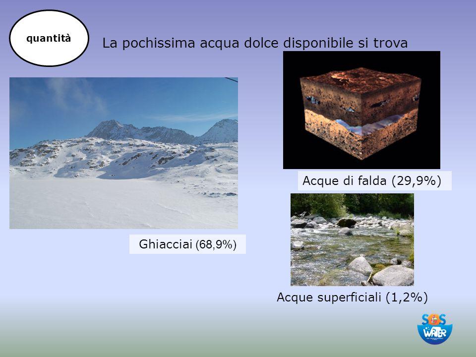 La pochissima acqua dolce disponibile si trova Acque superficiali (1,2%) Ghiacciai (68,9%) Acque di falda (29,9%) quantità