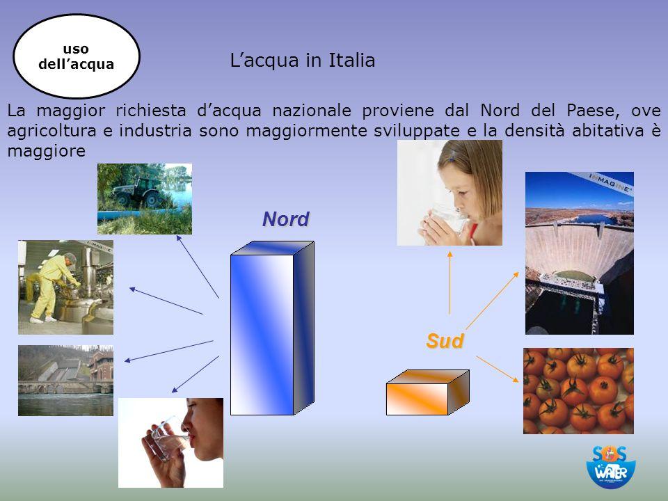 L'acqua in Italia La maggior richiesta d'acqua nazionale proviene dal Nord del Paese, ove agricoltura e industria sono maggiormente sviluppate e la de